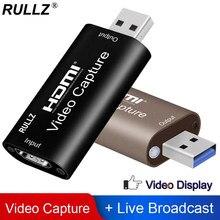 Rullz Placa de captura de vídeo, 4K USB 3.0 2.0 HDMI caixa de gravação de vídeo para o jogo PS4 gravação de Câmera de vídeo em DVD ao vivo
