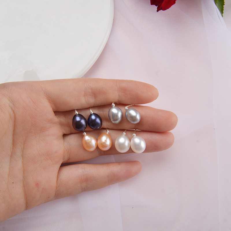 ASHIQI Multi Natural Freshwater Pearl Earrings 925 Sterling Silver Handmade Simple Jewelry for Women