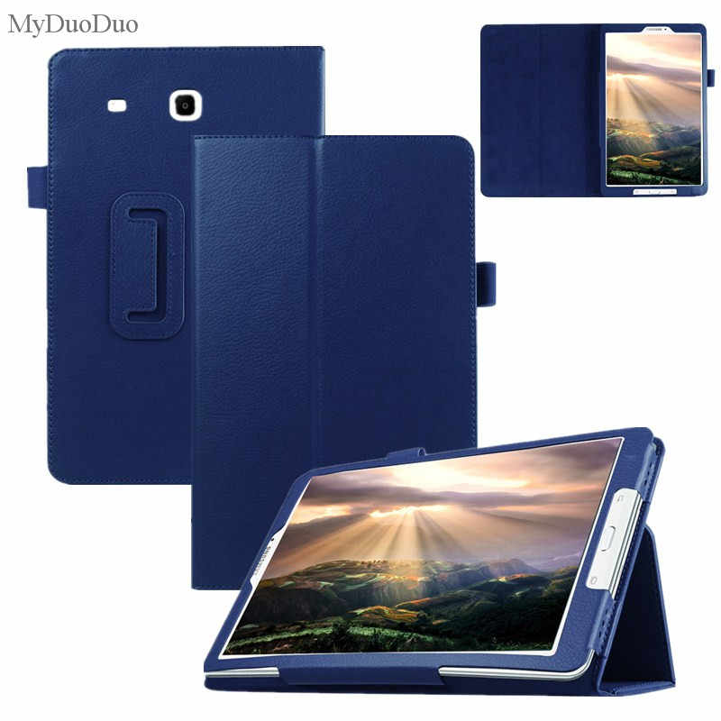 "Tablet Case For Samsung Galaxy Tab E 9.6"" T560 SM-T561 Cover Flip Stand Litchi Pattern PU Leather Case Protective Shell+Film+Pen"
