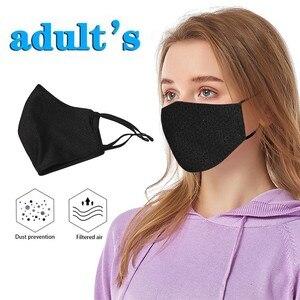 Черная противопылевая маска нейтральная моющаяся хлопковая маска Женская Мужская дышащая маска для езды на велосипеде