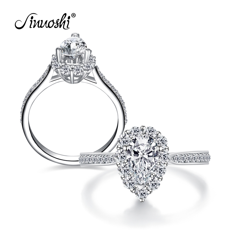 AINUOSHI Trendy Pear Cut Halo Ring Sona Women Ring Waterdrop Rings 925 Sterling Silver Engagement Wedding Pear Party Lovers Ring