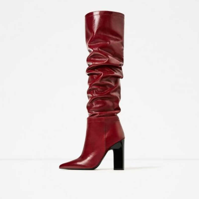 Red Slouch Boots Pointy Toe Chunky Heels Knee High Boot Women Winter Slip On High Heel Shoes Solid Wine Red Color Customized