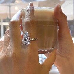 VAGZEB Luxury Solitaire Big Water Drop CZ Women Engagement Rings AAA Pear Shape Zircon Elegant Proposal Ring for Girlfriend New
