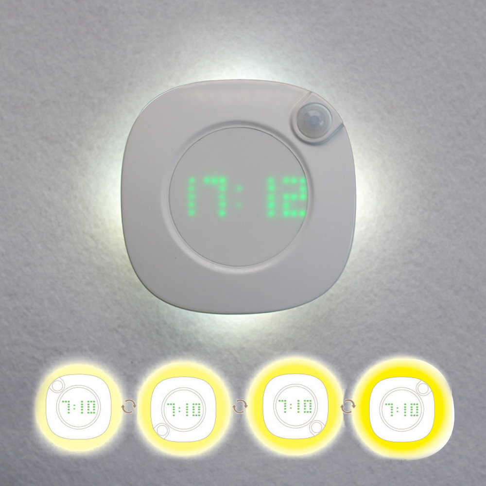 LED PIR Motion Sensor Night Light Clock Battery Power PIR Sensor Two Lighting Color Adjustable Brightness Magnet Night Lamp
