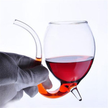 все цены на 300ML Crystal Glass Vampire Whiskey Wine Cup Borosilicate Heat Resistant Juice Champagne Cup Party Drinking Tube Straw Beer Cup онлайн