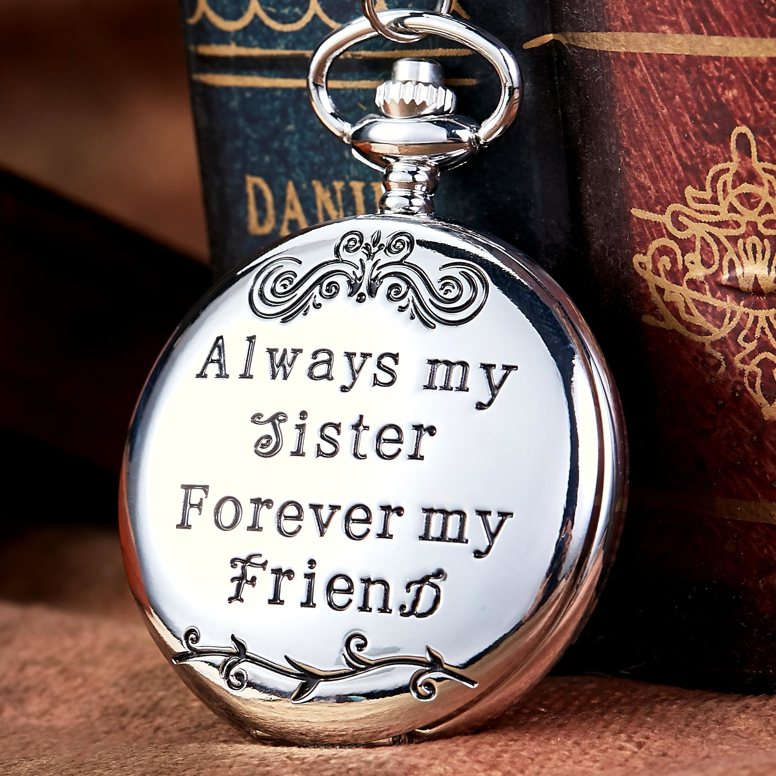 Vintage Quartz Pocket Watch Always My Sister Forever My Friend Pocket Watches With Fob Chain Necklace For Sister's Women's Gift