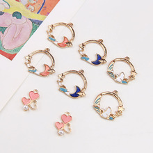 10pcs 2020 New Design Fashion Alloy Rabbit Wreath heart-shaped Pearl Pendant Cartoon Earrings For Girls Diy Jewelry Accessories 2018 the new heart pearl pendant fashion simple earrings long pearl heart shaped earrings girl party accessories