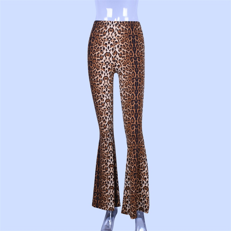 Hugcitar high waist leopard print flare leggings 2020 autumn winter women fashion sexy bodycon trousers club pants 6