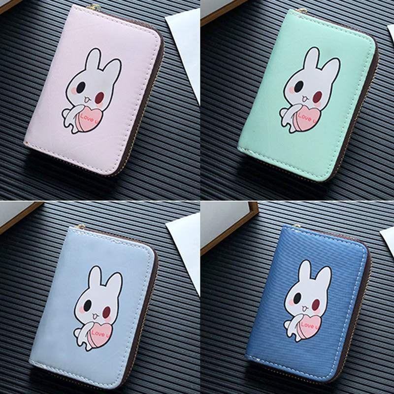APP BLOG New Cute Cartoon Rabbit Women Girl Banks Credit ID Card Holder Case Extendable Bags Small Cards Wallet Mini Coin Purse image