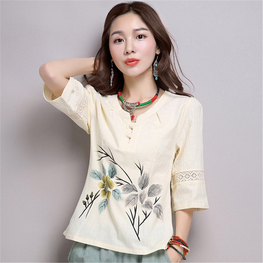 2019 Latest Woman Floral Printed Chinese Top Summer Casual Half Sleeve Split Blouse National Chinese Style Tang Suit For Women