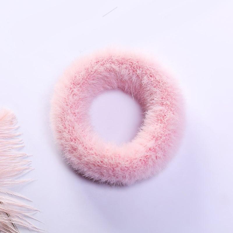 Мягкая Плюшевая повязка для волос резинки для волос натуральный мех кроличья шерсть мягкие эластичные резинки для волос для девочек однотонный цветной хвост резинки для волос для женщин - Цвет: 7