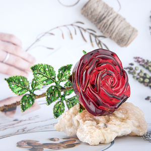 Image 3 - H&D Crystal Red Rose Flower Figurines Craft Birthday Valentines Day Favors Xmas Gifts Wedding Home Table Decoration Ornament