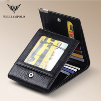 WILLIAMPOLO Trifold Wallet Foldable Short Men's Wallet Genuine Leather Purse Black Brown Coin Pocket Card Holder Fashion 3 Folds