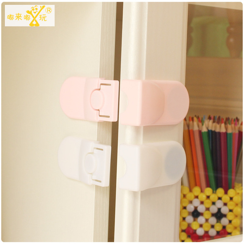 5PCS Child Drawer Lock Safety Lock Baby Door Safety Buckle Prevents Anti-Pinch Hands Protects Drawer Cabinet White, Pink