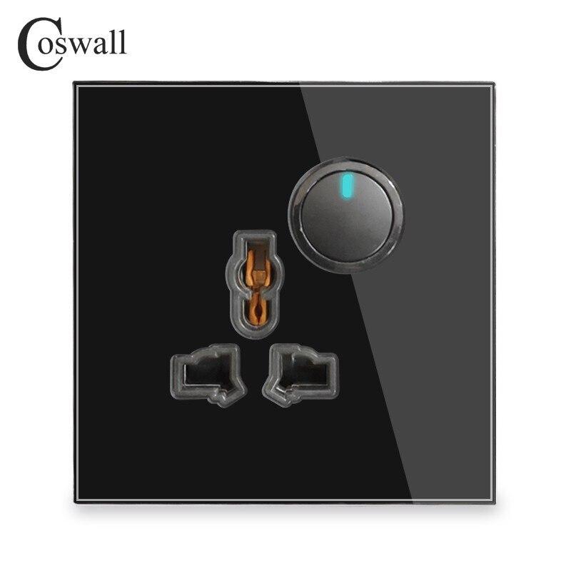 coswall painel de vidro tomada universal 1 gang 2 way passagem atraves de ligar desligar interruptor