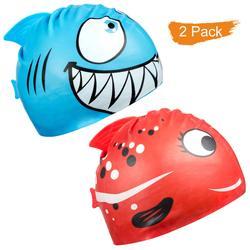 Kids Swimming Cap Cartoon Fish Silicone Waterproof Pool Ear Protector Shark Girl Boy Children Swim Hat