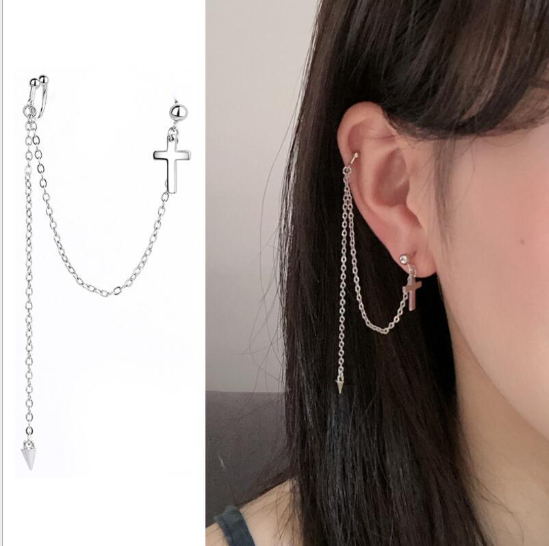 Hfarich 1Pc Cool Korean Fashion Long Chain Link Kpop Earings Christian Cross Earrings For Boys Girls Party Jewelry Oorbellen