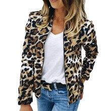 Leopard Print Women Jacket Coat Auutmn Stand Collar Long Sle