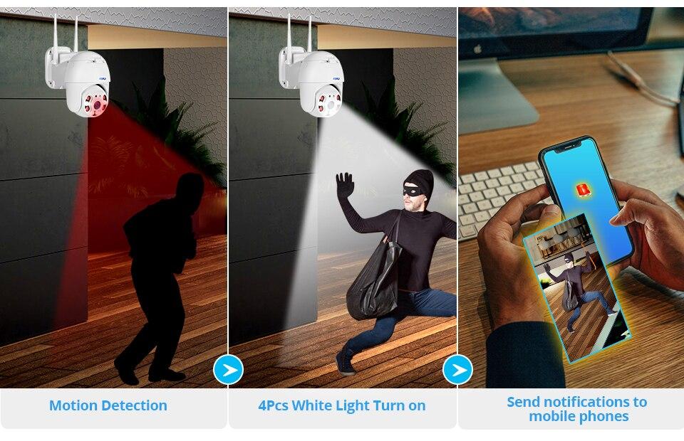 H2573960ba34e484c9150cd3b07c9faece KERUI Outdoor Waterproof Wireless 1080P 2MP PTZ WiFi IP Camera Speed Dome Camera H.264+ IR Home Security CCTV Surveillance