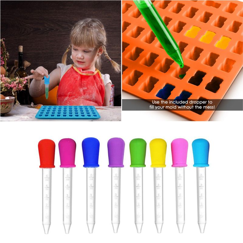 8 Pcs Baby Dropper Medicine Feeder Silicone Pipette Liquid Food Dropper 5ML