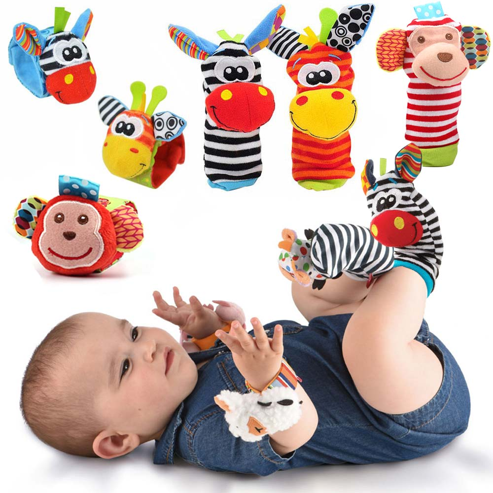 Cartoon Wrist Strap Rattles Animal Socks Baby Toys 0-12 Months Infant Soft Handbells Baby Rattles Plush Sock Foot Finder Socks