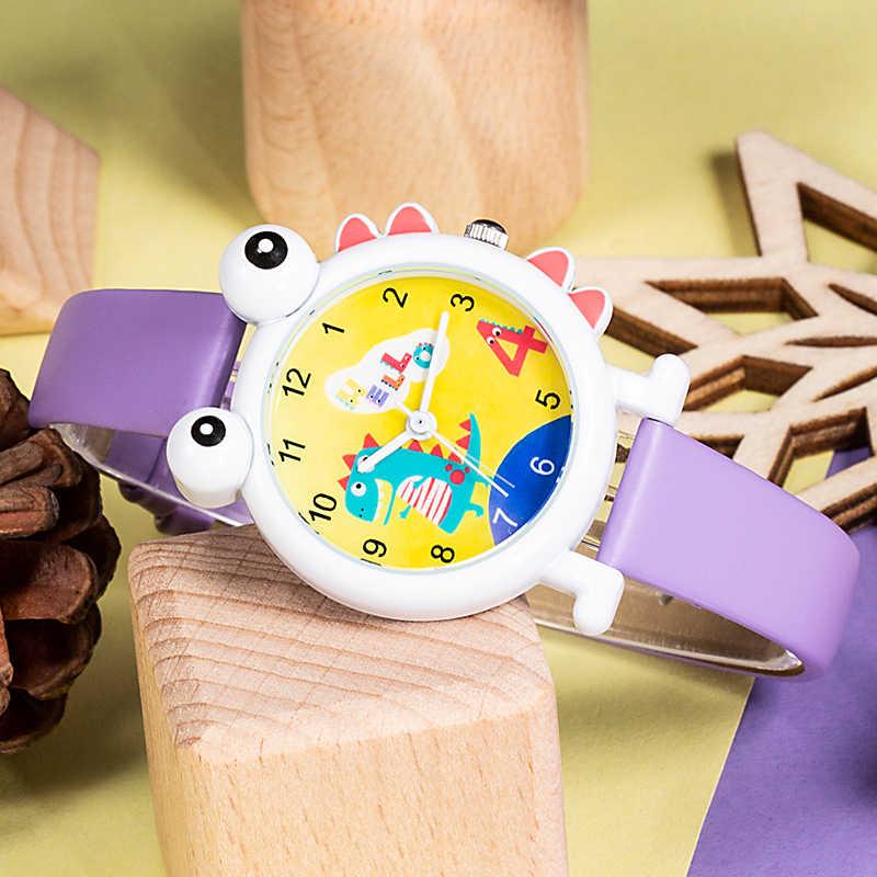 KDM filles montres enfants montres à Quartz bracelet en cuir dessin animé modèle violet montre-bracelet en plein air sport mignon montre Relog Nino 0076