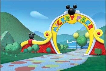 5x7 pies Mickey Mouse Park verde jardín diversión personalizado foto estudio fondo de vinilo 220cm x 150cm