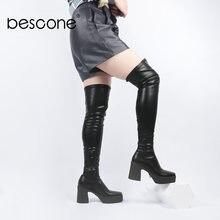 Bescone/женские сапоги; Модные пикантные Женские Сапоги выше