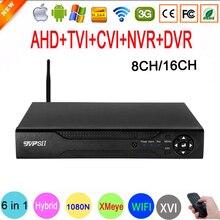 1080P אבטחה Hi3521D 16 ערוץ 16CH 1080N H.265 + 8CH 6 ב 1 היברידי קואקסיאלי השישה עשר NVR CVI TVi WIFI AHD CCTV DVR