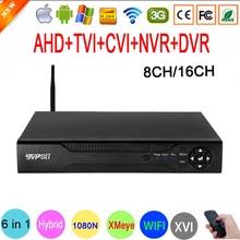 1080P 보안 카메라 Hi3521D 16 채널 16CH 1080N H.265 + 8CH 6 in 1 하이브리드 동축 XVI NVR CVI TVi WIFI AHD CCTV DVR