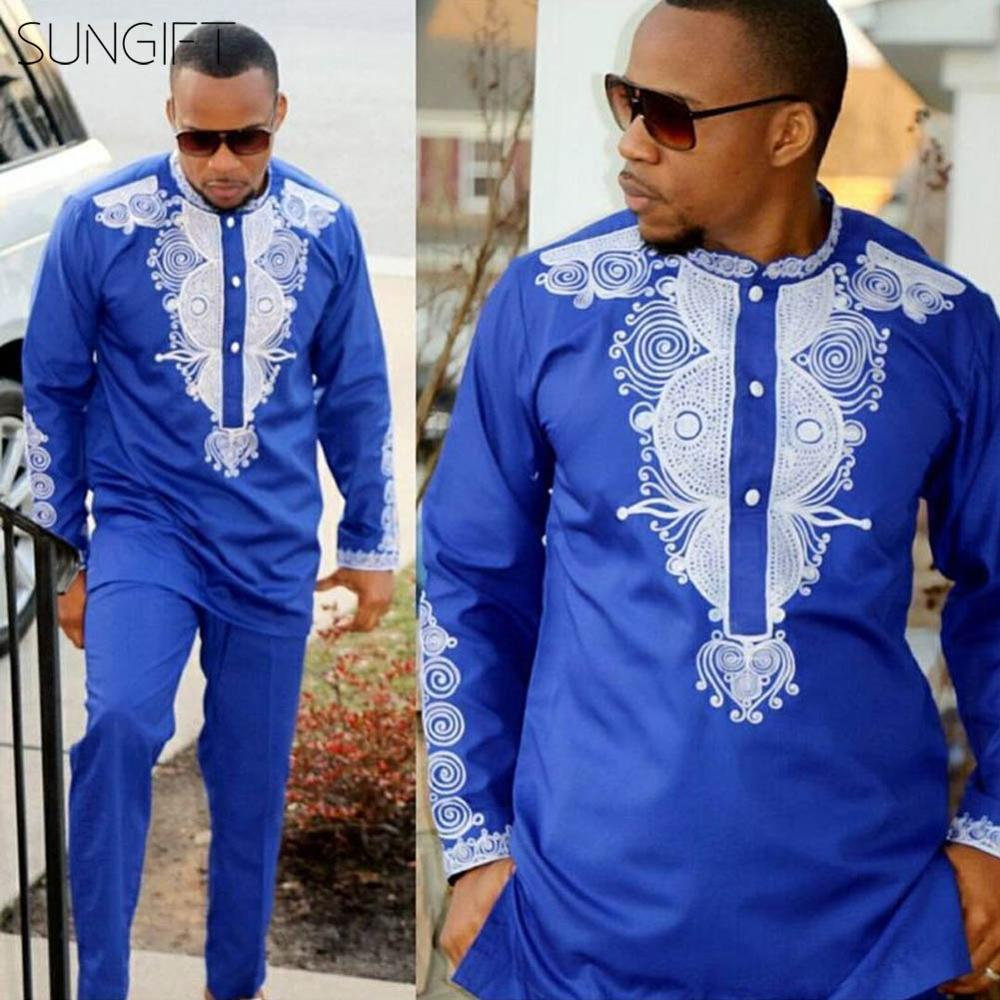 SUNGIFT African Male Top Traditional Print Clothing Long Sleeve Top Dashiki Standing Collar Male Shirt African Men Clothes