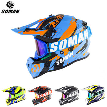 цена на SOMAN Dirt Bike Helmet Motocross ECE Dh Helmets Goggles Motorcycle Motocross Helmet Racing MX Casco Moto Off Road Helmets SM633