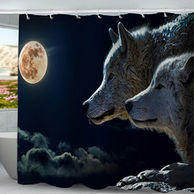 Black Night Moon White Wolf And Yellow Buddha Statue Shower Curtain Bathroom Decoration Bath Curtains Waterproof With 12 Hooks