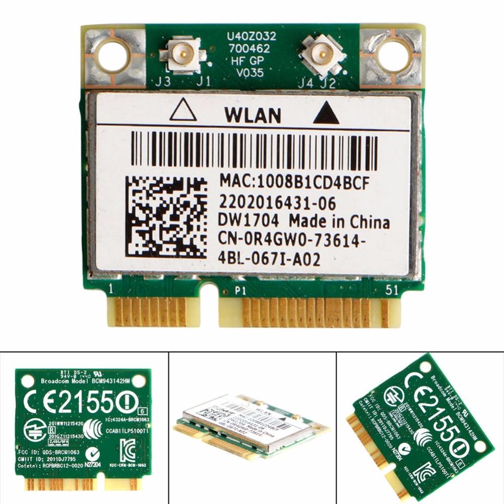 DW1704 R4GW0 BCM943142HM Wireless WiFi 300Mbps Bluetooth 4.0 MiniPCI-E Card New Drop Shipping