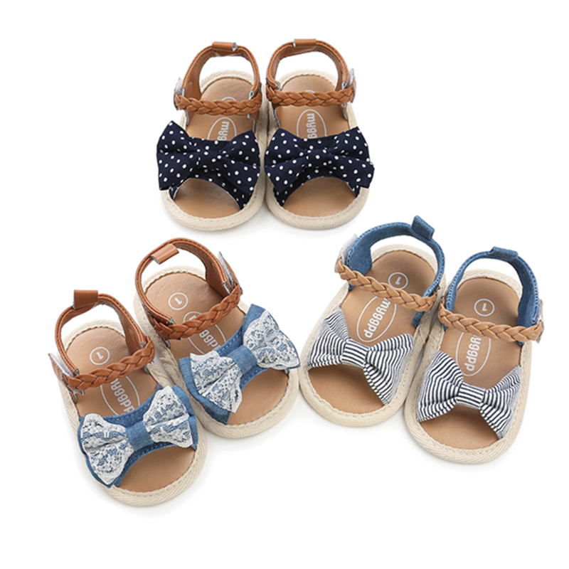2020 New Soft Sole PU Baby Girls Canvas Bow First Walkers Shoes Fashion Summer Prewalkers First Walker Toddler Moccasins