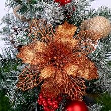 Цветы с блестками для задний фон с веселой рождественской елкой Декор большие Пластик Искусственные цветы орнамент Свадебный PartyPlease ознакомиться с описанием