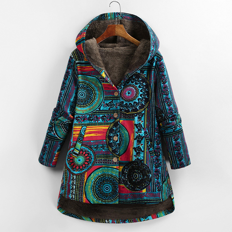 Versear Female Jacket Plush Coat Women Windbreaker Winter Warm Outwear Floral Print Hooded Pockets Vintage Oversized