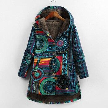 Versear Female Jacket Plush Coat Women Windbreaker Winter Warm Outwear Floral Print Hooded Pockets Vintage