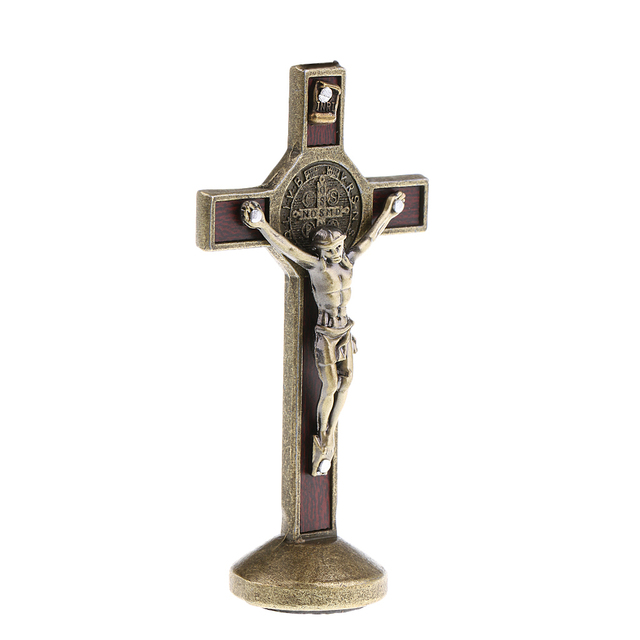 9cm Metal Crucifix Model Jesus Christ Statue with Sticky Base Car Dashboard Decorations