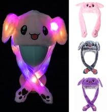 Cartoon Rabbit Animal Plush Hat LED Light Up Moving Bunny Ears Warm Cosplay Cap 270D