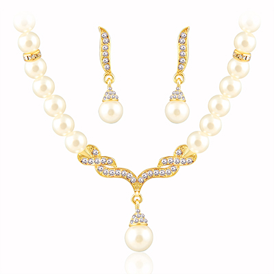 Pearl necklace Gold Color jewelry set for women Clear Crystal Elegant Party Gift Fashion Costume Jewelry Sets