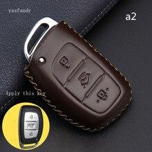 Car Key Case Cover Remote For Hyundai IX25 IX35 I20 I30 I40 hb20 Santa Fe Creta Solaris 2017 Genuine Leather 3 Buttons Key Shell