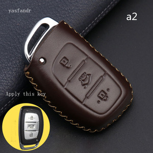 Image 1 - Car Key Case Cover Remote For Hyundai IX25 IX35 I20 I30 I40 hb20 Santa Fe Creta Solaris 2017 Genuine Leather 3 Buttons Key Shell