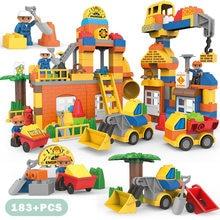 Grande taille Construction de ville véhicules excavateur bulldozer Robot figurines blocs de Construction éclairer briques enfants jouets cadeaux