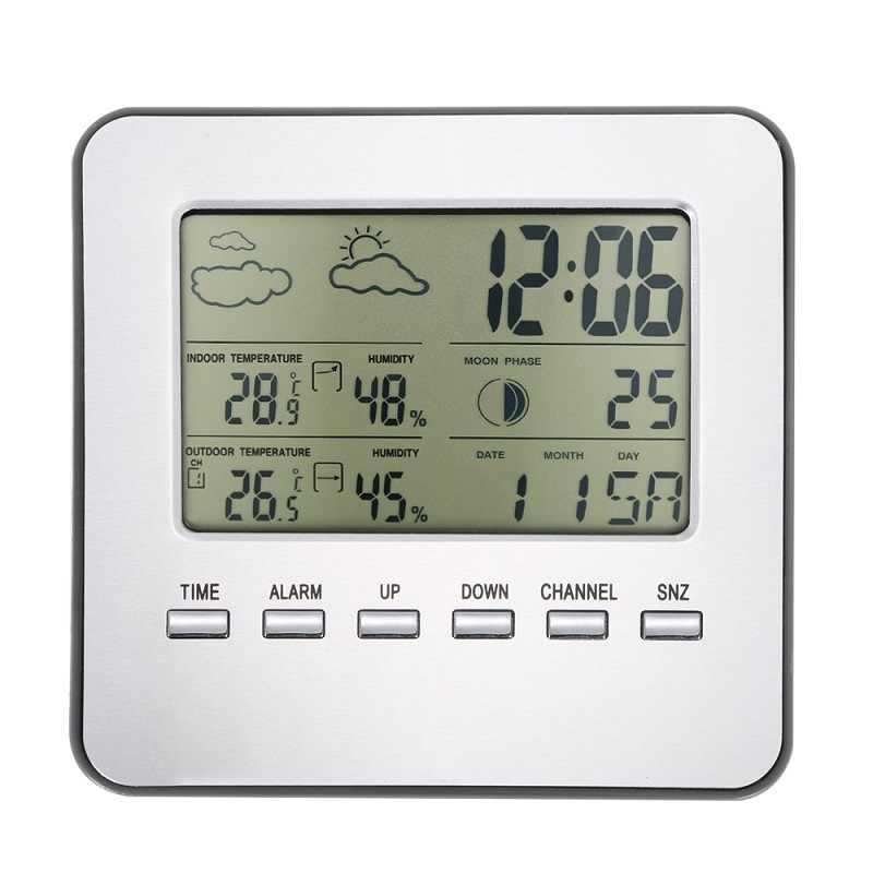 Sem fio lcd digital termômetro higrômetro estação meteorológica ao ar livre indoor temperatura medidor de umidade despertador previsão