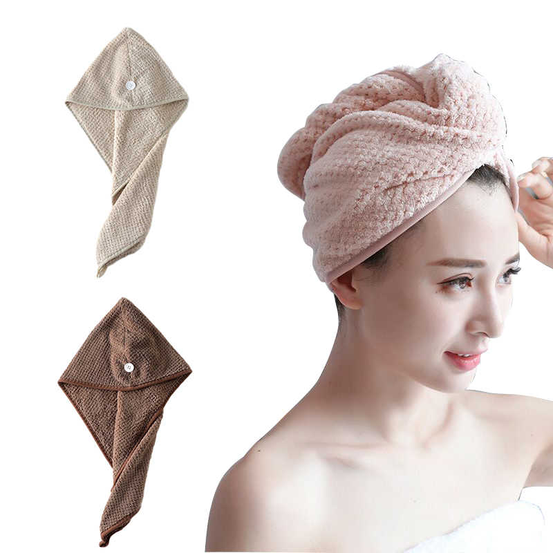 Hair Drying Towel Bathing Cap Bathrobe Hat Soft Wrap Bath Cap Dry Hair Caps Bathroom Solid Plush Hats Strong Absorbent Turban