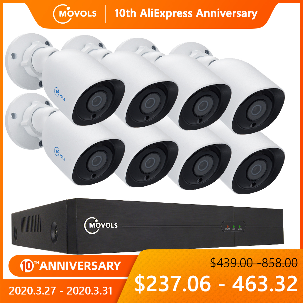 MOVOLS 8CH 4K Ultra HD CCTV Camera System H.265 CCTV Kit 8MP DVR Outdoor Home Waterproof  Video Security Surveillance System