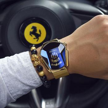 Authentic Automatic Men's Black Technology Watch Men's Net Red Waterproof High-End Fashion Steel Belt Quartz Watch Couple Suit