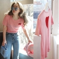 Лидер продаж в Корейском стиле, Новинка лета 2021, милая розовая футболка с вышивкой и коротким рукавом, Женский приталенный Топ, модный супер ...