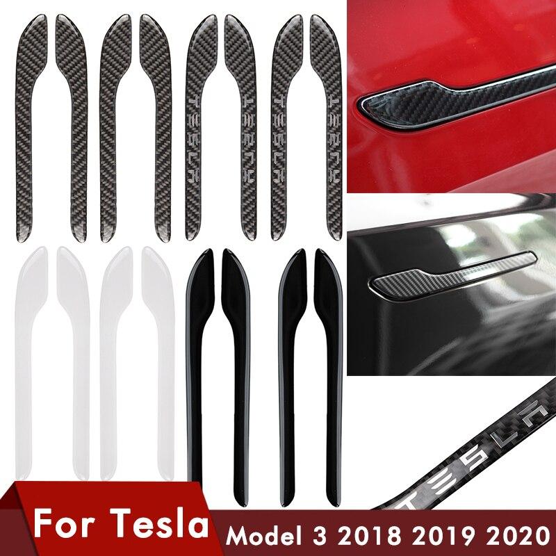 4 unids/set para Tesla modelo 3 manija de puerta negro Protector pegatina impermeable cubierta de abrigo de mango de puerta para Tesla modelo 3 accesorios